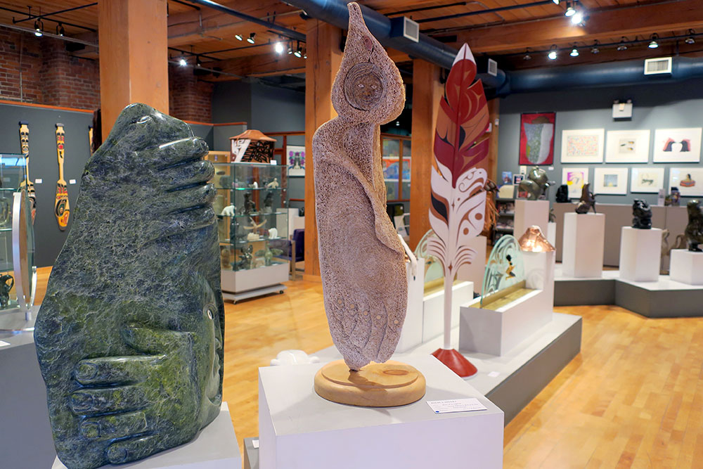 Collection of sculptures at Inuit Gallery of Vancouver