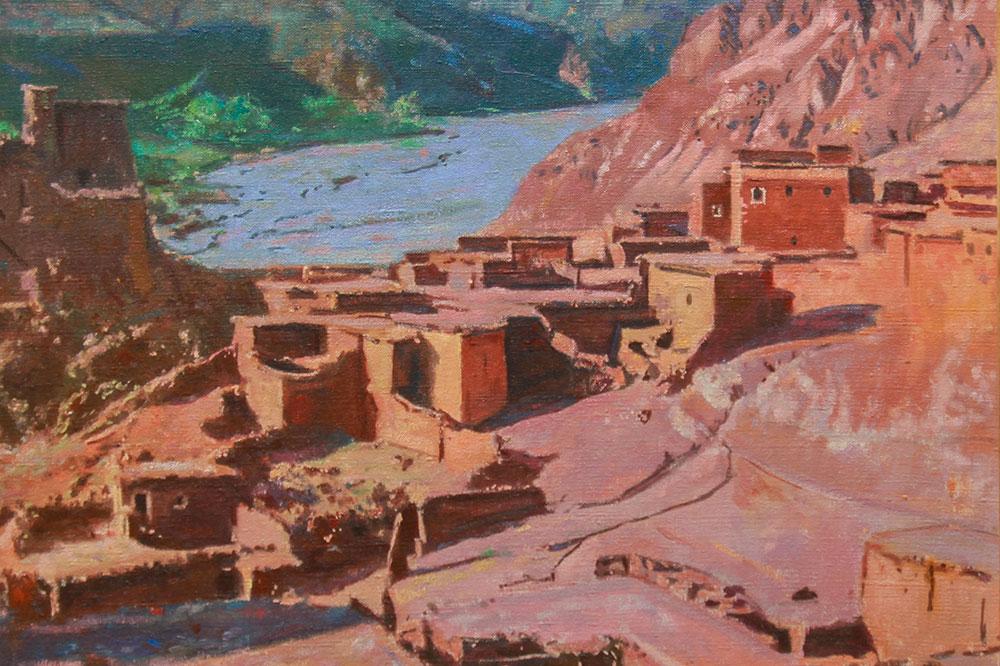 """""""Kasbah d'Aït Bou Guemmez,"""" by Jacques Majorelle, at The Orientalist Museum of Marrakech"""