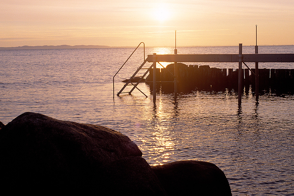 The jetty at sunrise at Gilleleje Badehotel