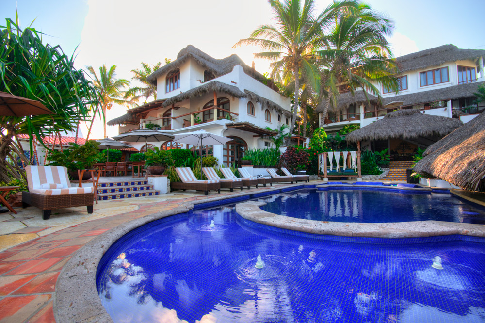 View of the main house from the pool at Casa de Mita