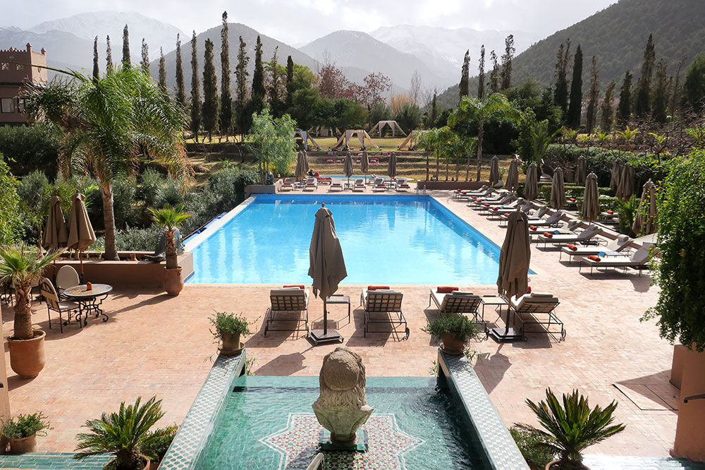The main pool at Kasbah Tamadot in Asni, Morocco