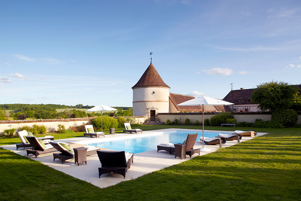 Pool and grounds at La Borde