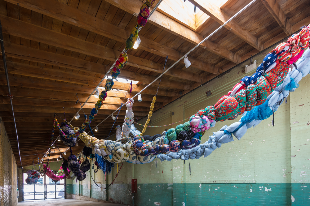 Textile art in the breezeway of Hauser & Wirth 2016