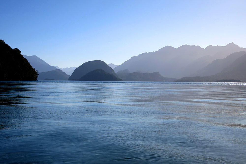Lake Manapouri from the mouth of the Waiau River, Fiordland, South Island, New Zealand
