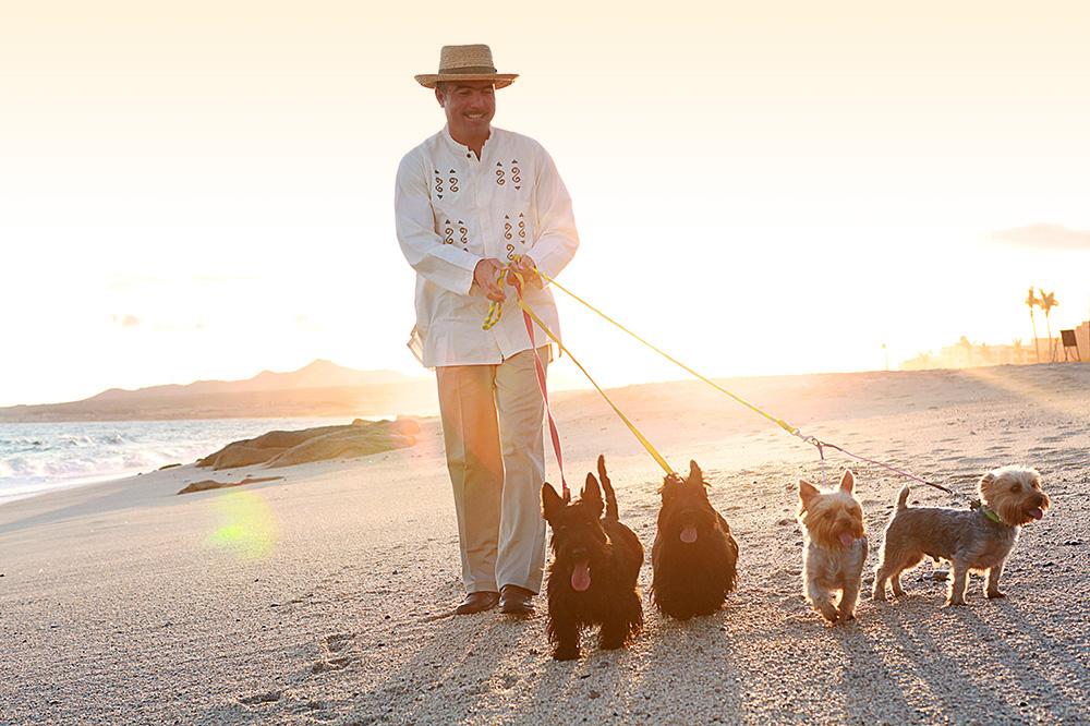 The dog butler, who walks and pampers guests' dogs at Las Ventanas al Paraíso in San José del Cabo, Mexico