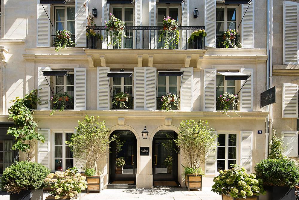 Entrance of the Le Saint Hotel, Paris, France