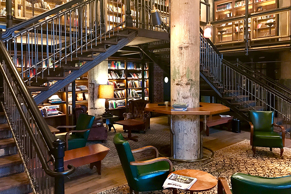 The hotel library of Hotel Emma, a former brewery - Photo by Andrew Harper