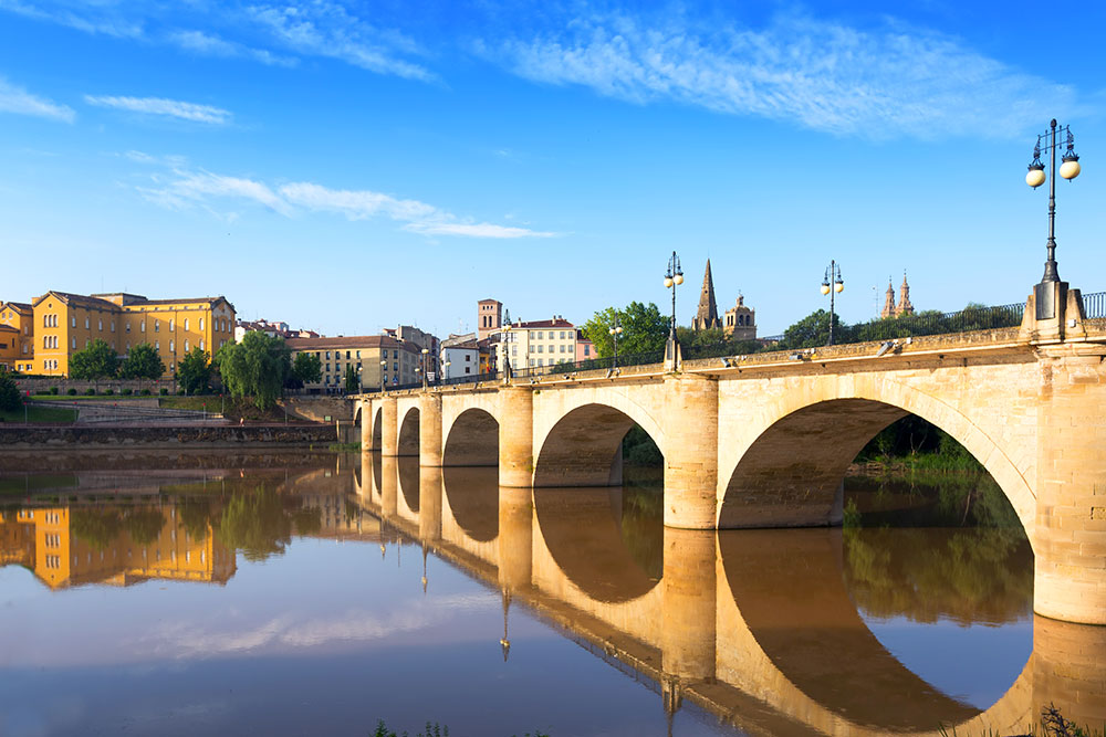 City of Logroño along the Ebro River, Spain