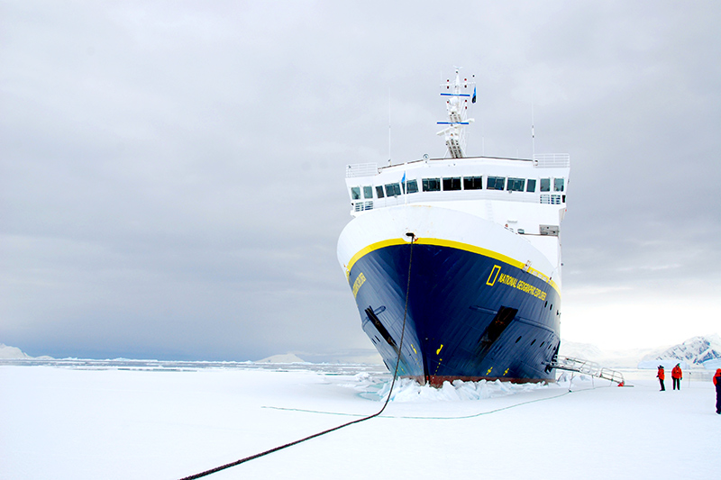 The <em>Explorer</em> in Lallemand Fjord - Photo by Andrew Harper