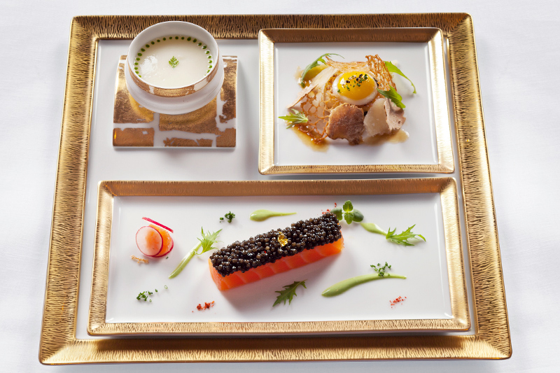 Beautifully presented dish at <i>Restaurant Joël Robuchon</i> - © Deepix