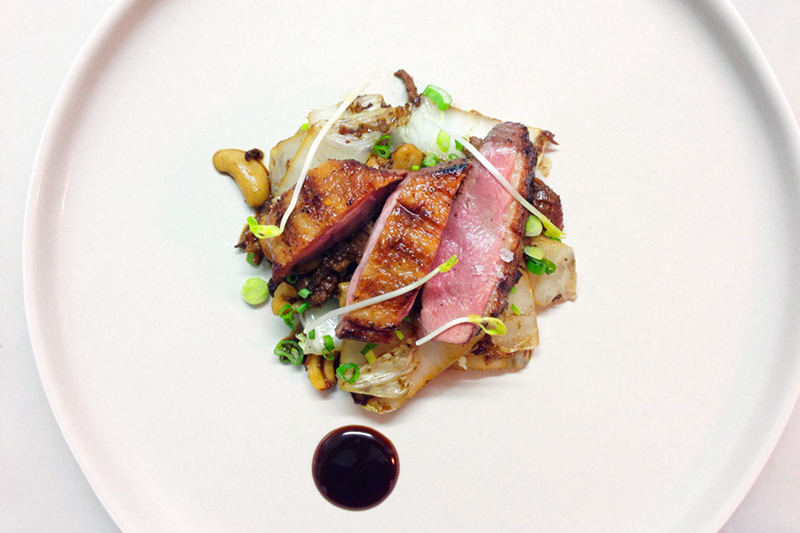 Roasted duck with cabbage and water chestnuts at Dan