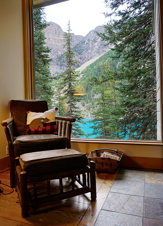 View from our Deluxe King Cabin at Moraine Lake Lodge - Photo by Andrew Harper