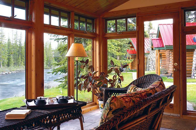 Pipestone Cabin sunroom at Post Hotel & Spa