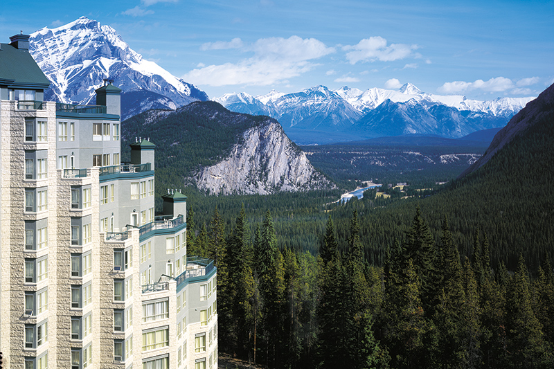 The Rimrock Resort Hotel looks out over the Bow and Spray river valleys