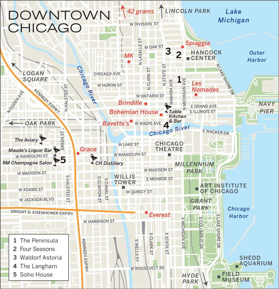 Chicago Michigan Avenue Hotels Map Michigan Map - Chicago map lake michigan