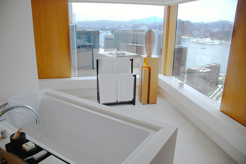 View of the harbor from our bath at The Upper House