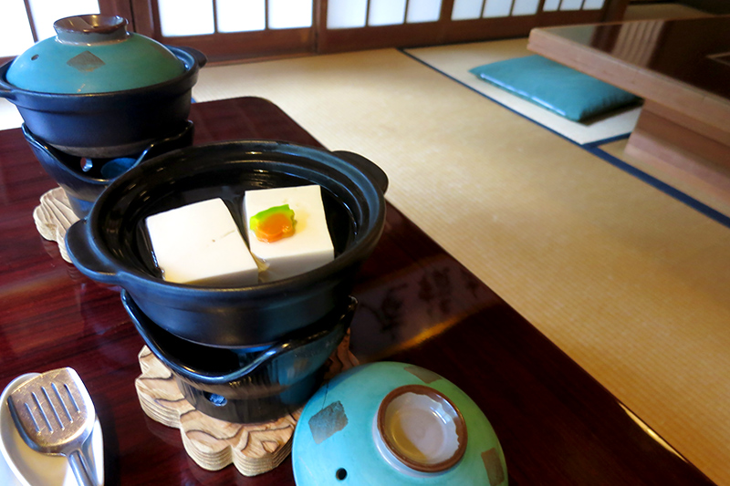 <i>Yudo</i> (chunks of creamy tofu simmered in broth) at <i>Shoraian</i> - Photo by Andrew Harper