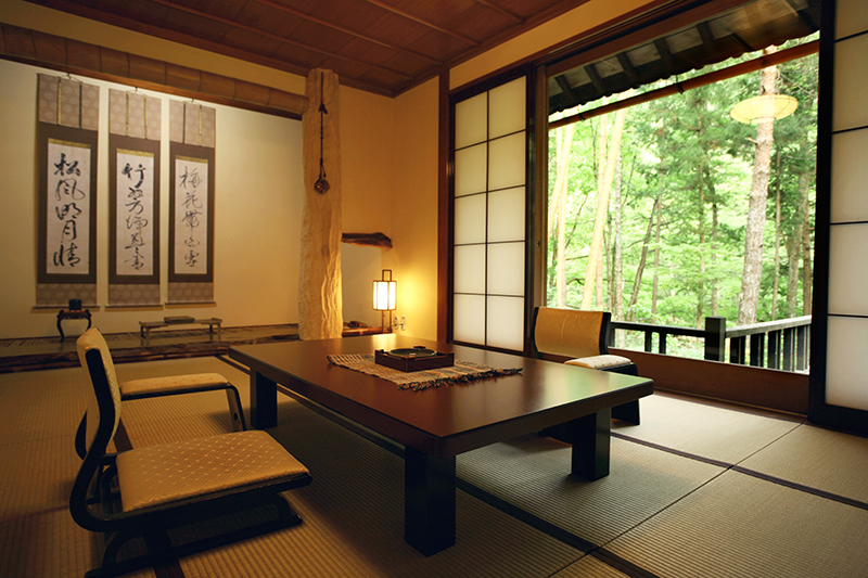 Room with tatami mat-floors at Wanosato - Photo by The Ryokan Collection