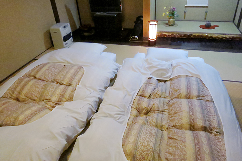 Futons prepared for the night at Wanosato - Photo by Andrew Harper
