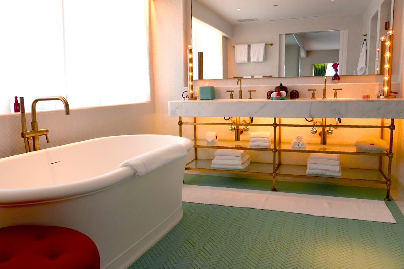 Our Ocean View Junior Suite bath at the Faena Hotel