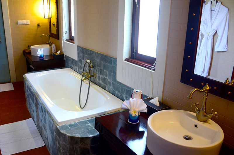 Bath in our Villa Room at Bagan Lodge - Photo by Andrew Harper