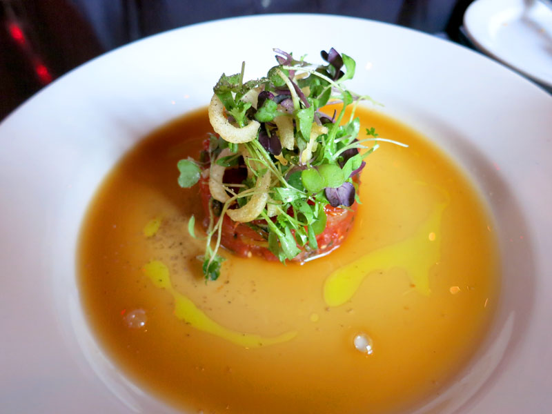 Spicy tuna and scallop tartare topped with microgreens at <em>Thalia</em> - Photo by Andrew Harper