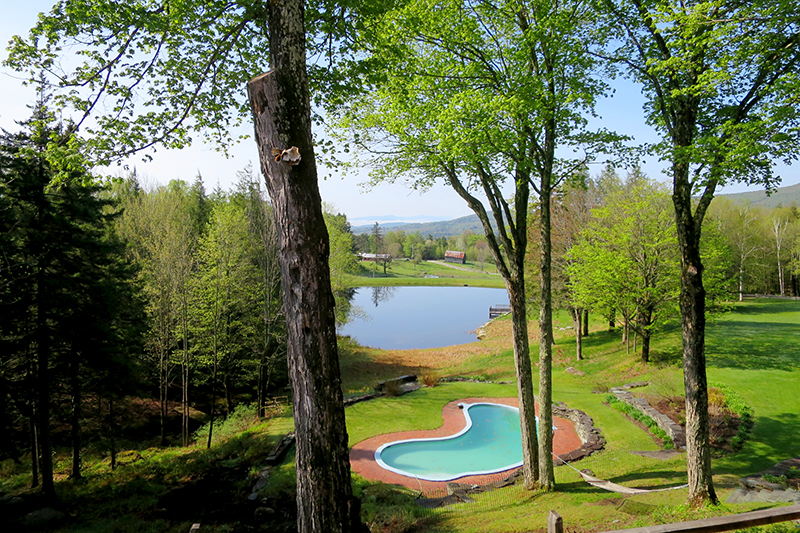 View of the pond and pool at Edson Hill