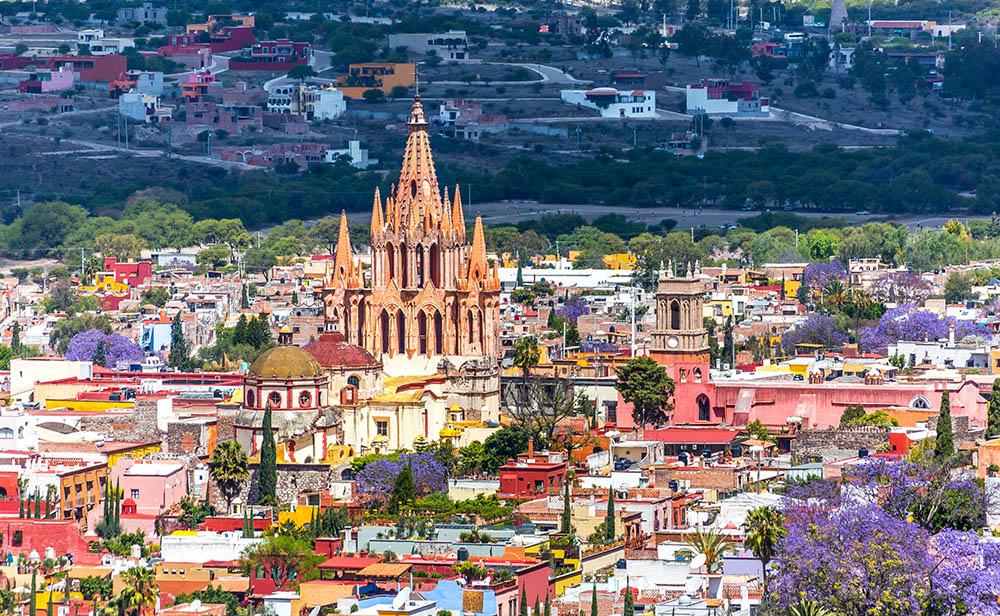 La Parroquia cathedral soars above the colorful city of San Miguel de Allende