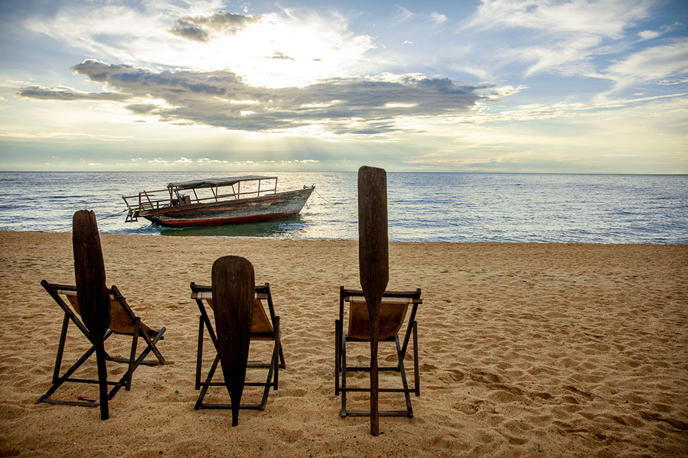 Lounge chairs with a view of Lake Tanganyika at Mahale Mountains National Park