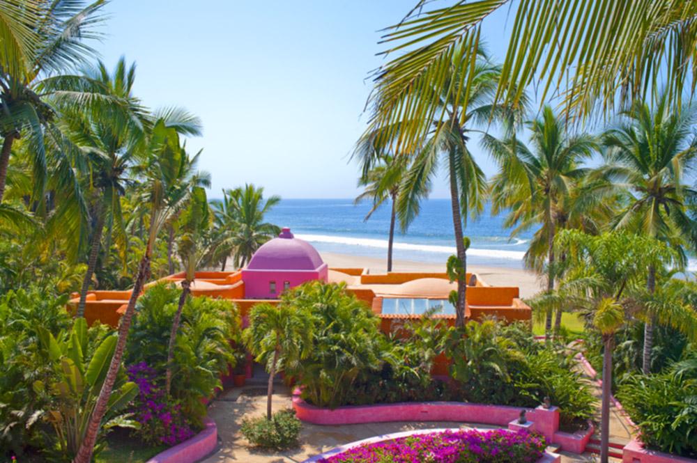 View of the beach from Las Alamandas near Puerto Vallarta, Mexico