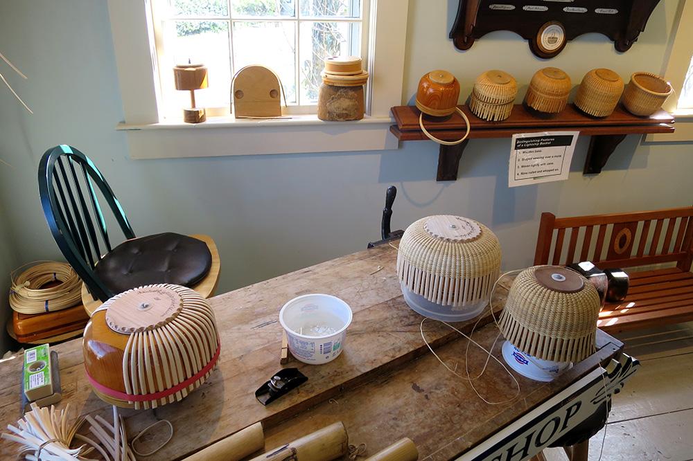 Lightship baskets in the making at the Nantucket Lightship Basket Museum