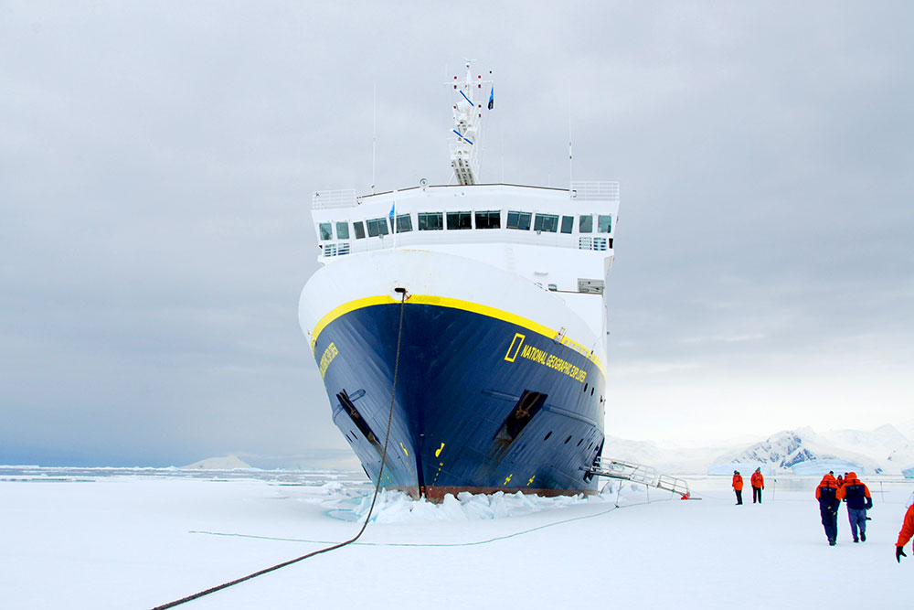 The <em>National Geographic Explorer</em> in Lallemand Fjord, Antarctica