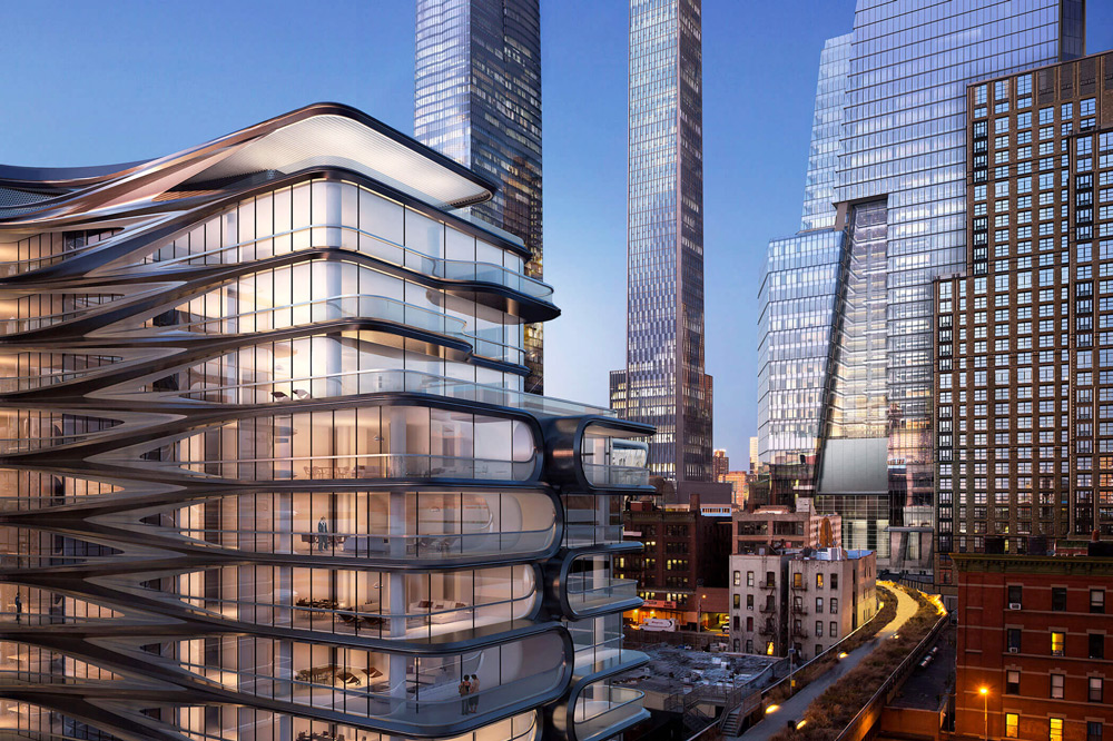 View of Hudson Yards and 520 West 28th Street from the High Line