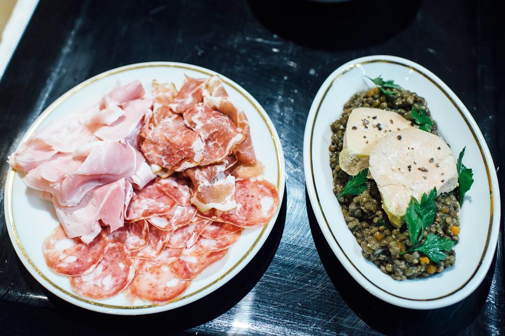 Charcuterie and fois gras with lentils at <em>Chez La Vieille</em>