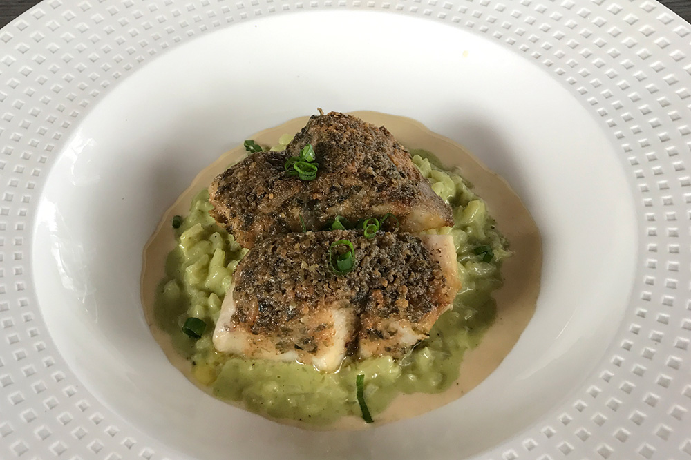 Paru on pesto risotto from <em>Le Coco's</em> in Tahiti