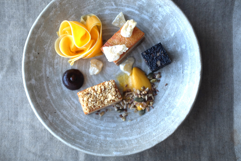Pig belly, butternut squash and burnt-pear seeds at <em>The Pig's Ear</em> - <em>The Pig's Ear</em>