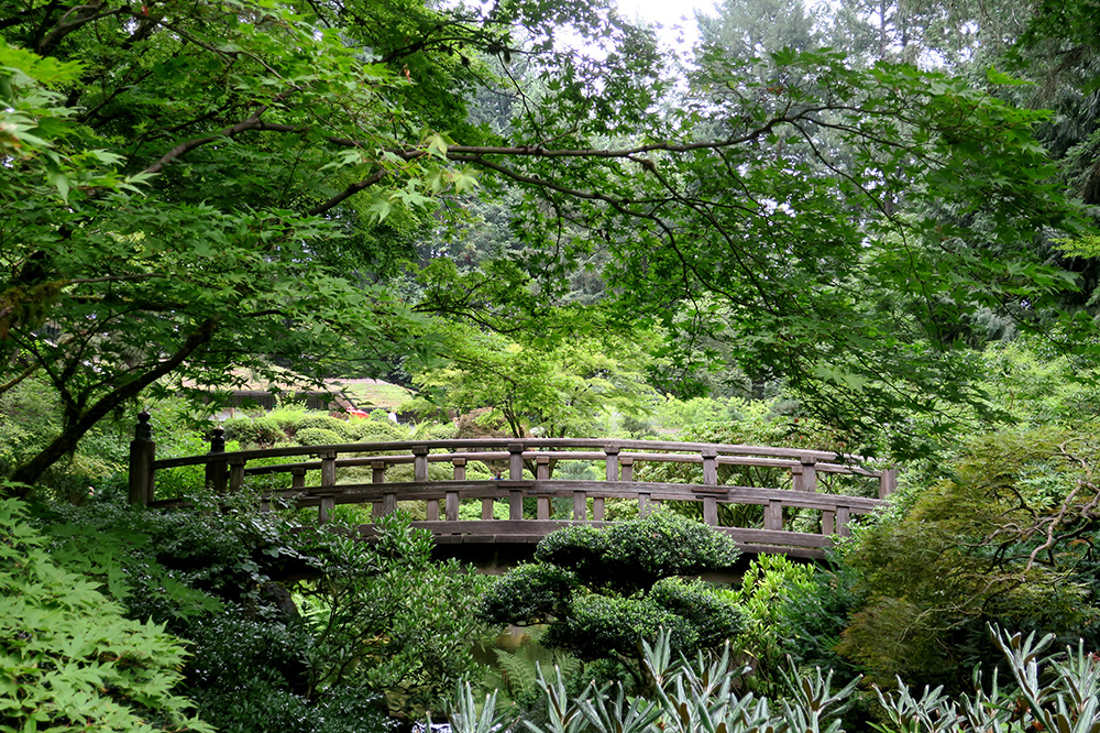 The Moon Bridge in the Strolling Pond Garden at the Portland Japanese Garden in Portland, Oregon