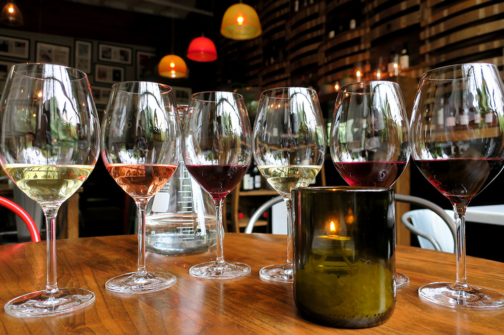 A wine flight from Southeast Wine Collective in Portland, Oregon