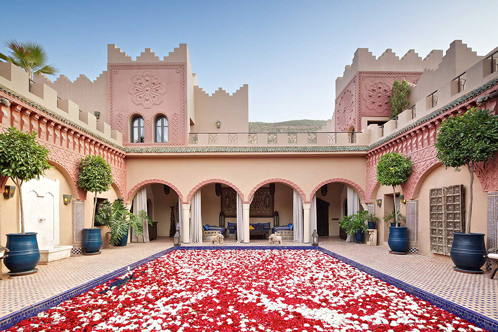 The reflecting pool at Kasbah Tamadot in Asni, Morocco