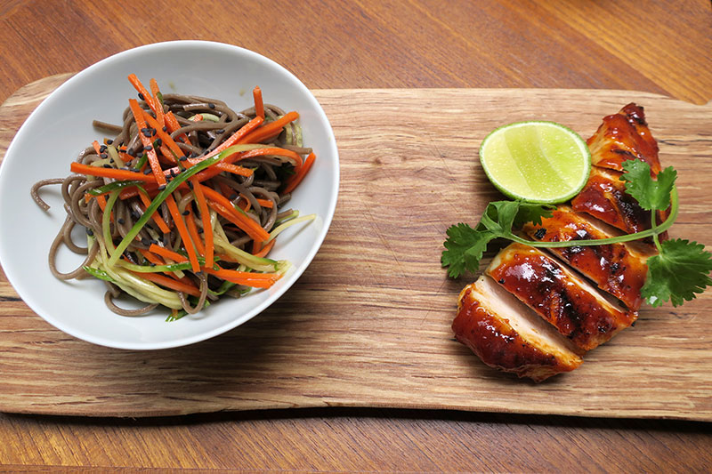 Huli-huli chicken with soba noodles at Reflections: The Garden Terrace