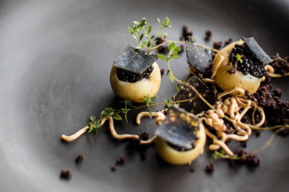 A potato, caviar, leek and trout dish at <em>Jan</em>
