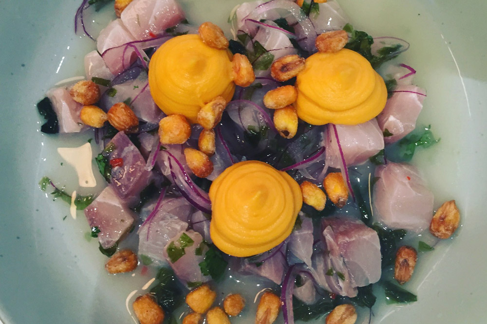 Whitefish ceviche dressed in pickled red onion, crunchy toasted corn, yam purée, and bright citrus at <em>Peixes</em>