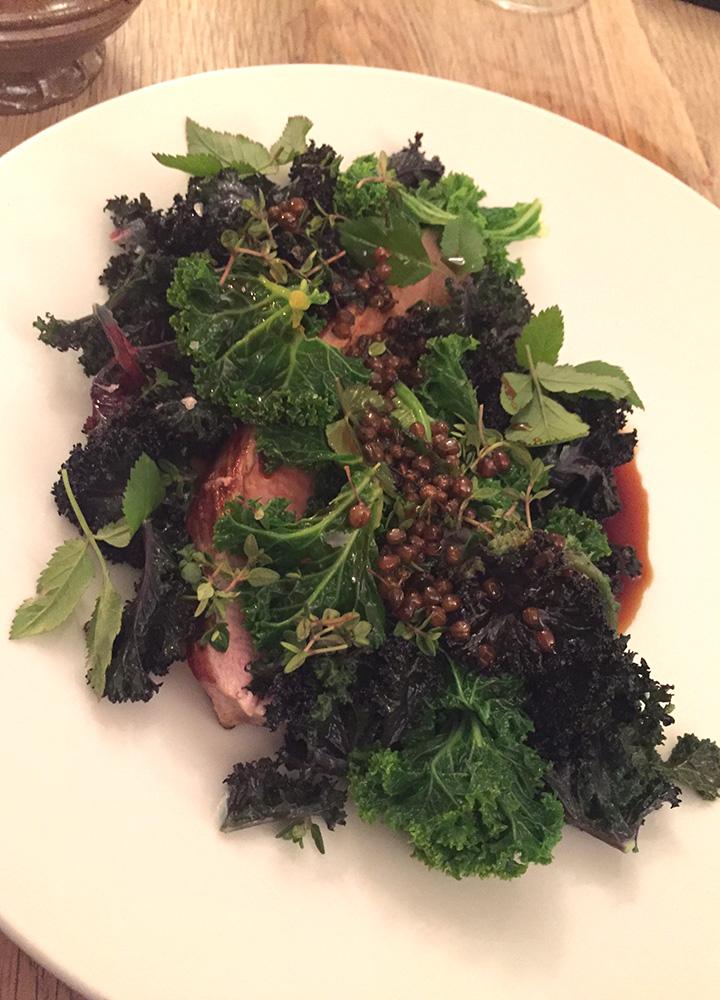 Roast pork with cabbage and pickled elderflower berries