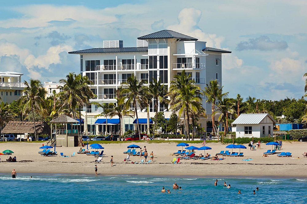 The exterior of Royal Blues Hotel in Deerfield Beach, Florida
