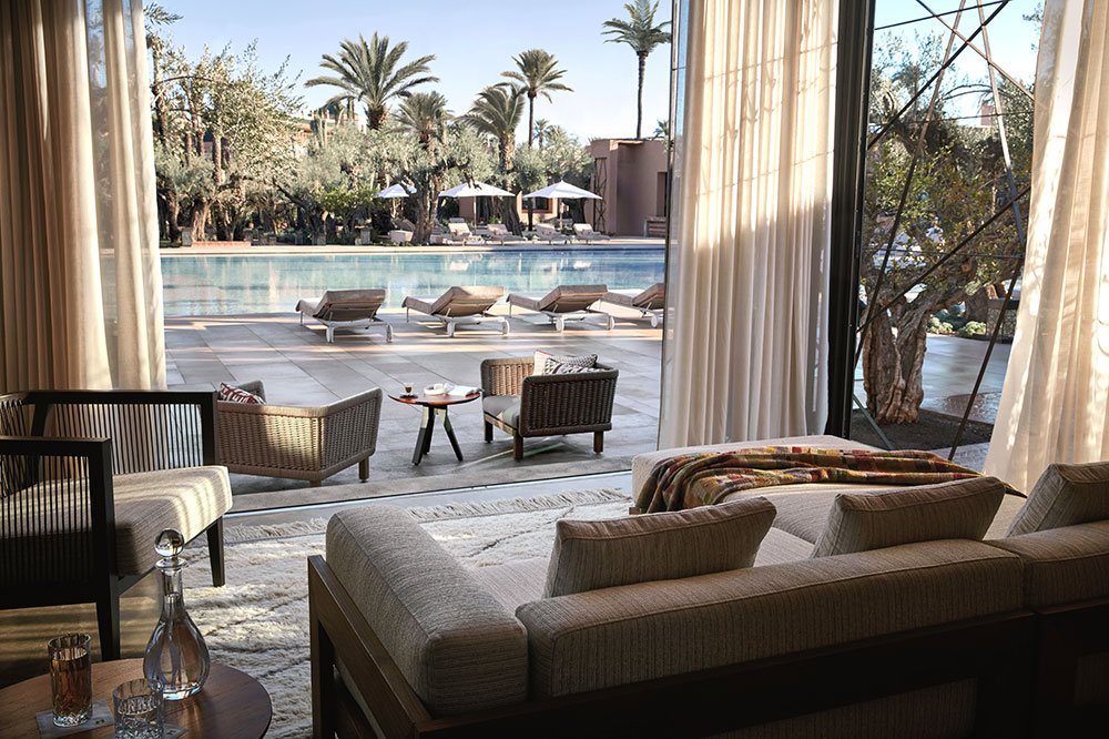 A cabana by the pool at Royal Mansour
