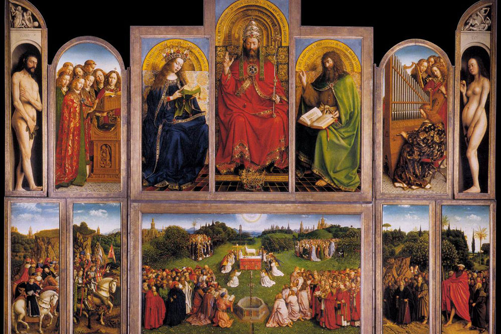 """""""The Adoration of the Mystic Lamb,"""" by Hubert and Jan van Eyck, which hangs in St. Bavo's Cathedral"""