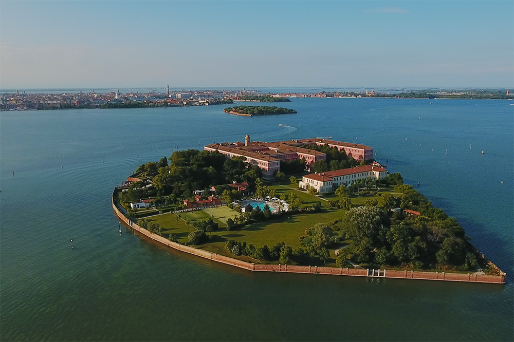 An aerial view of San Clemente Palace Kempinski in Venice, Italy