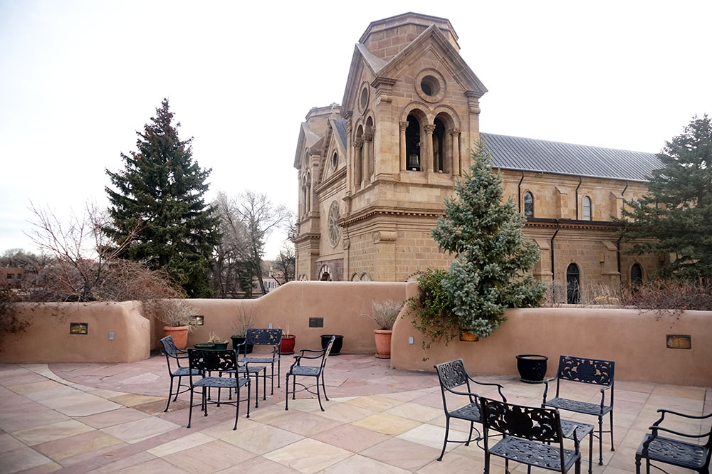 The private patio for guests of The Terrace at La Fonda on the Plaza in Santa Fe
