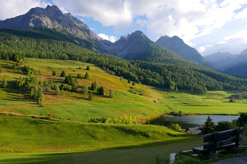 The unspoiled mountain landscape of the Lower Engadine valley seen from Tarasp, near Schlosshotel Chastè