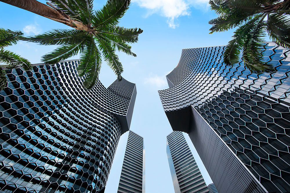 Andaz Singapore, housed within the striking DUO skyscrapers, which were designed by award-winning German architect, Ole Scheeren